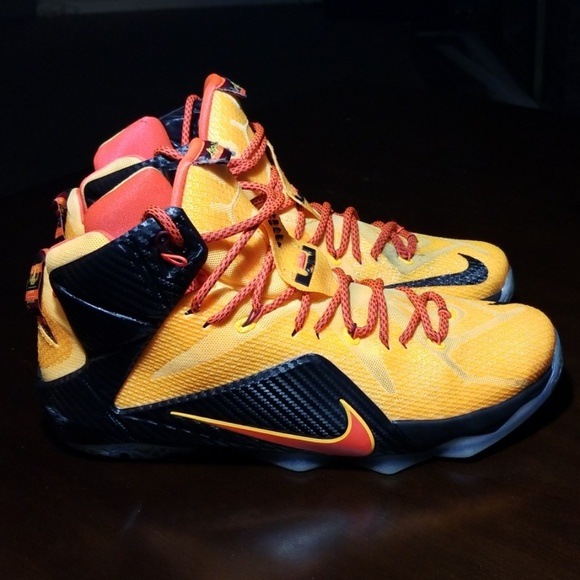 the best attitude eb722 7b7ed Nike LeBron 12 Laser Orange Green Glow-Black. M 5c5fe89204e33d1f41129fc2